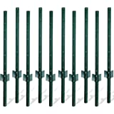 Gtongoko Duty Steel Fence Post,Fence Stakes for Garden and Yard, Outdoor Wire,Green,Pack of 10 (3FT)