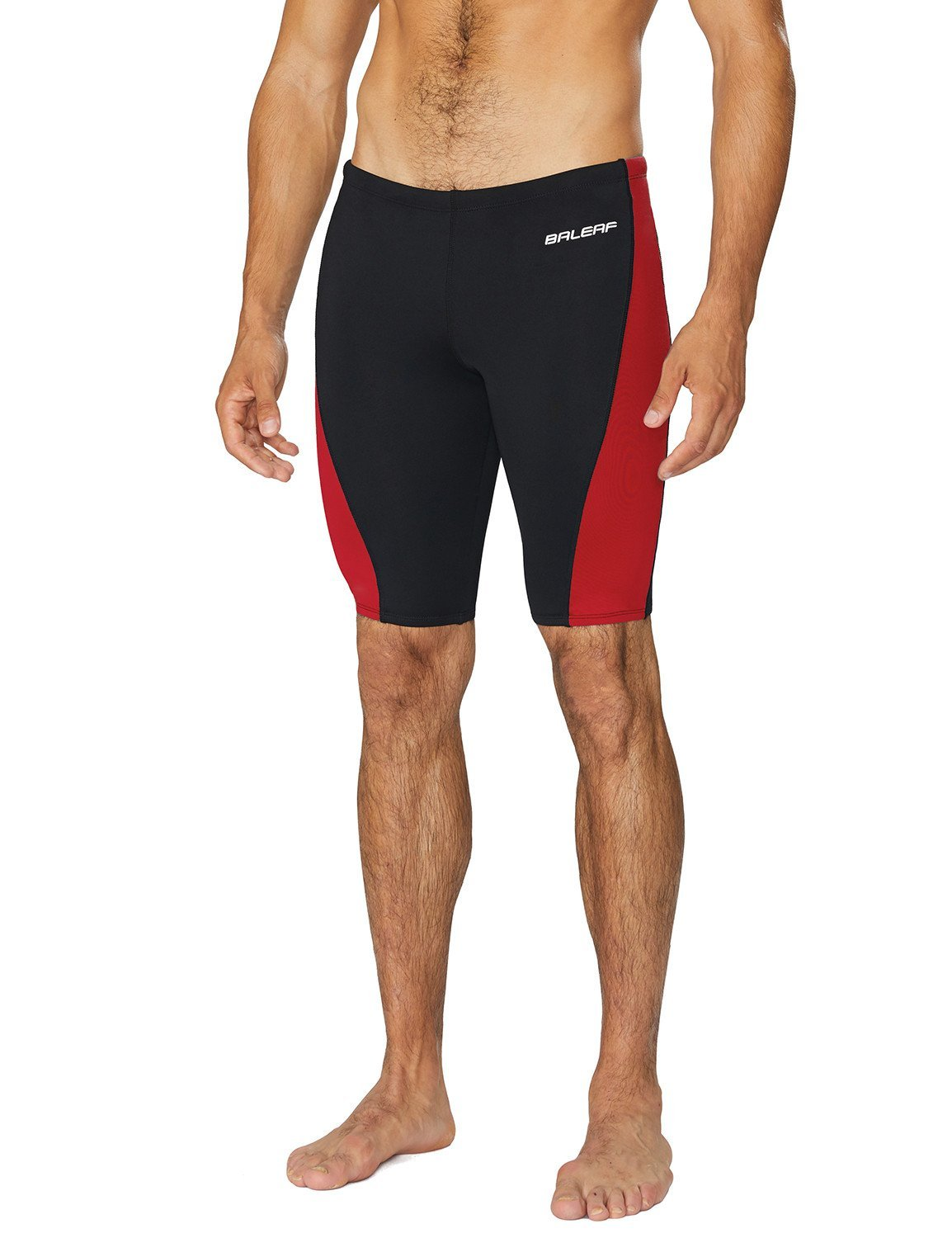 Baleaf Men's Durable Training Polyester Jammer Swimsuit Black/Red Size 32 by Baleaf
