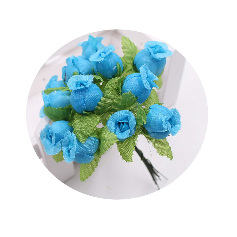 シルク造花 ミニローズブーケ 12本セット 結婚式 ホームデコレーション クラフトカード ギフト DIYリース スクラップブック ブルー B07Q1PBMZ2