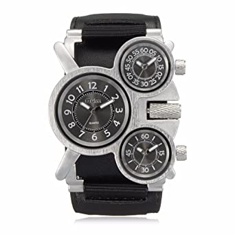 Mens Watches Oulm Brand Luxury Military Quartz Watch Unique 3 Small Dials Leather & Canvas Strap