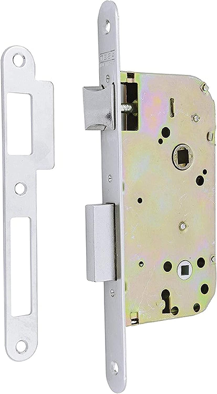 Tesa Assa Abloy, Cerradura de embutir para puertas de madera , frente redondeado, Entrada 50mm, Niquelado