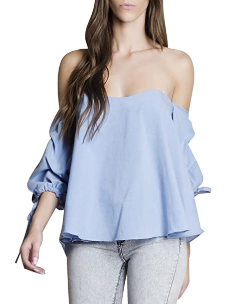 Simplee Apparel Mujeres verano casual Long Sleeve Ruffle Off Shoulder blusa Strapless TOP camisa de algodón