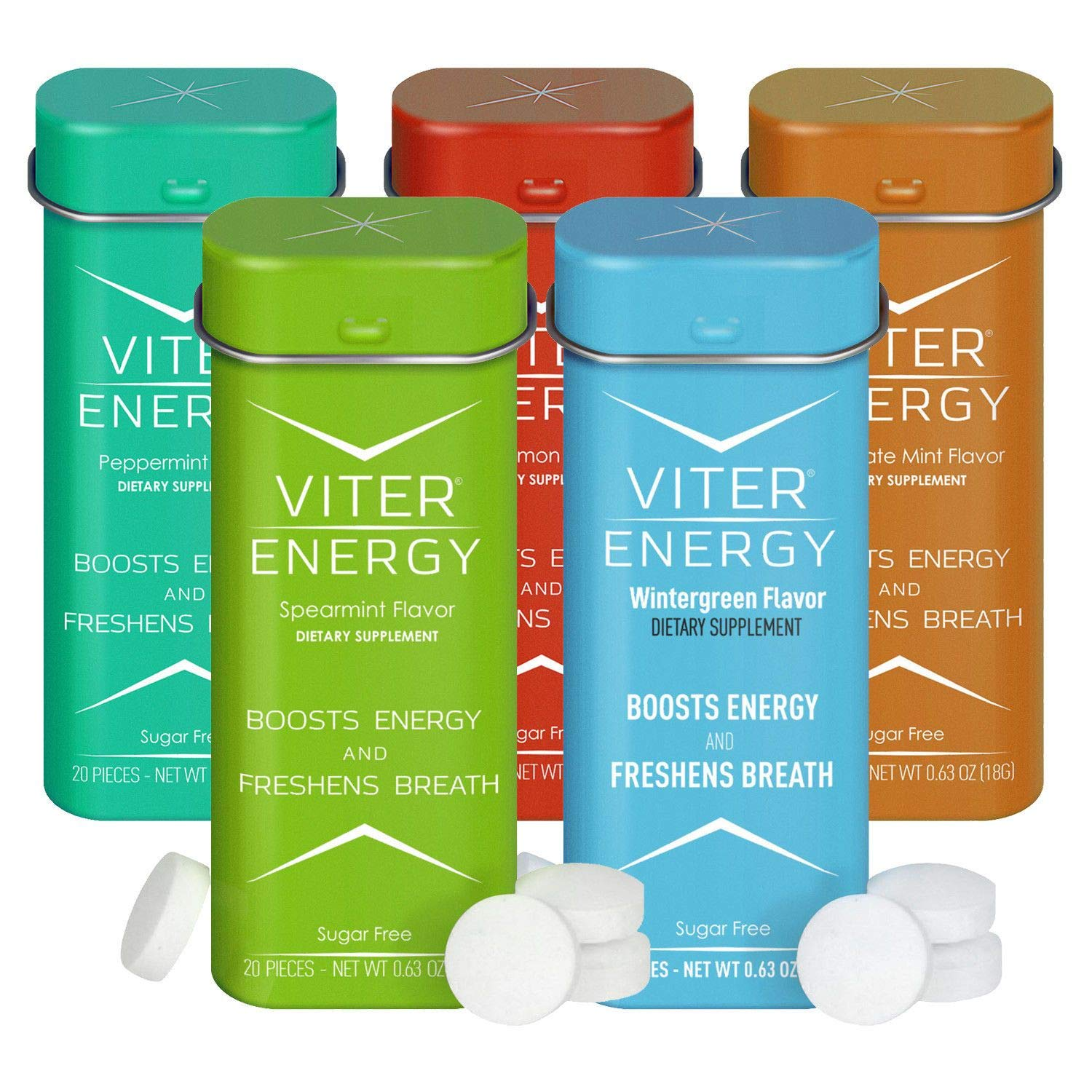 Viter Energy Caffeinated Mints 5 Flavor Variety Pack Wintergreen, Spearmint, Cinnamon, Peppermint, Chocolate Mint. Caffeine Mints for Energy, Focus