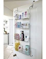 Taylor & Brown® Chrome Over Door Hanging Kitchen Bathroom Storage Rack Shelves