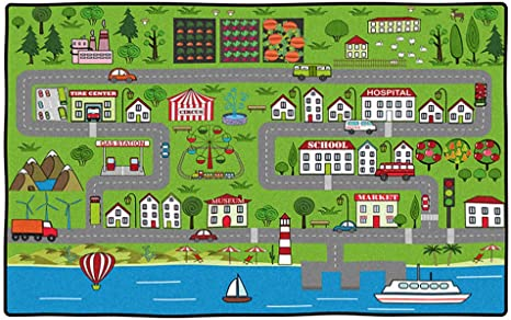 Vantaso Soft Foam Nursery Rugs World Map Animals Non Slip Play Mats for Kids Boys Girls Playing Room Living Room 60x91CM