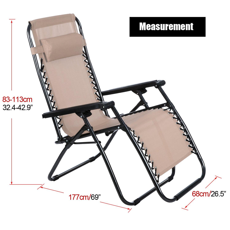 Plegable al aire libre silla gravedad cero reclinable salón ...