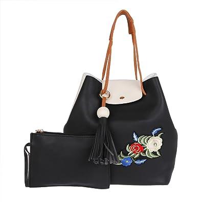 23f0c83bdf5e Fur Jaden Black Ladies Bucket Tote Handbag for Woman  Amazon.in  Shoes    Handbags