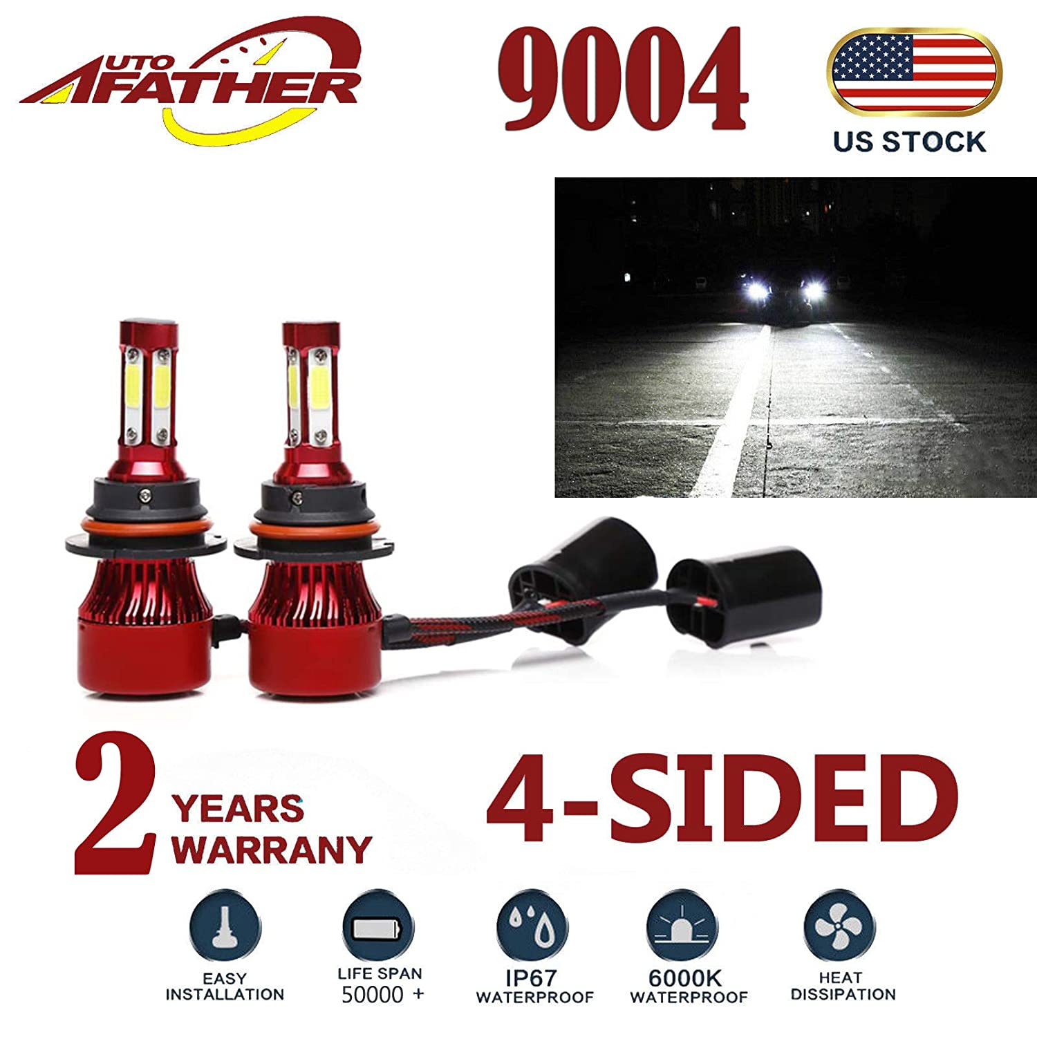 2Pcs H11 LED Headlight Bulbs Conversion Kit H8/H9 Car Headlamp 20000LM Bulbs 6000K Cool White Hi/Lo Beam/DRL / Fog Light Replace for Halogen HID, with 4-Sides Chips - Plug and Play Autobaba