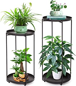 2 Tier Plant Stand Table, Black Metal Plant Holder Stand Outdoor Indoor, Houseplant Stand Corner Shelf with Stylish Mid-Century Design, Medium for Indoor, Outdoor House, Garden & Patio (Pack of 2)