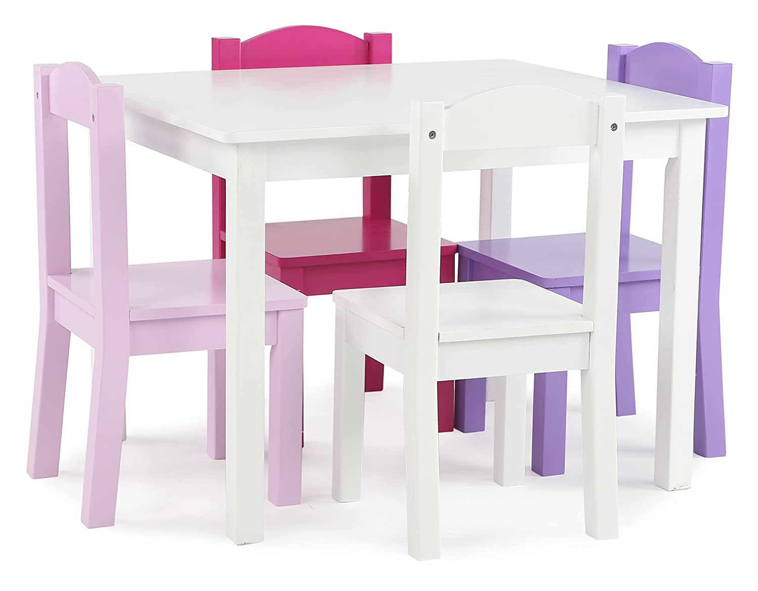 Tot Tutors TC727 Friends Collection Kids Wood Table & 4 Chair Set, White/Pink & Purple