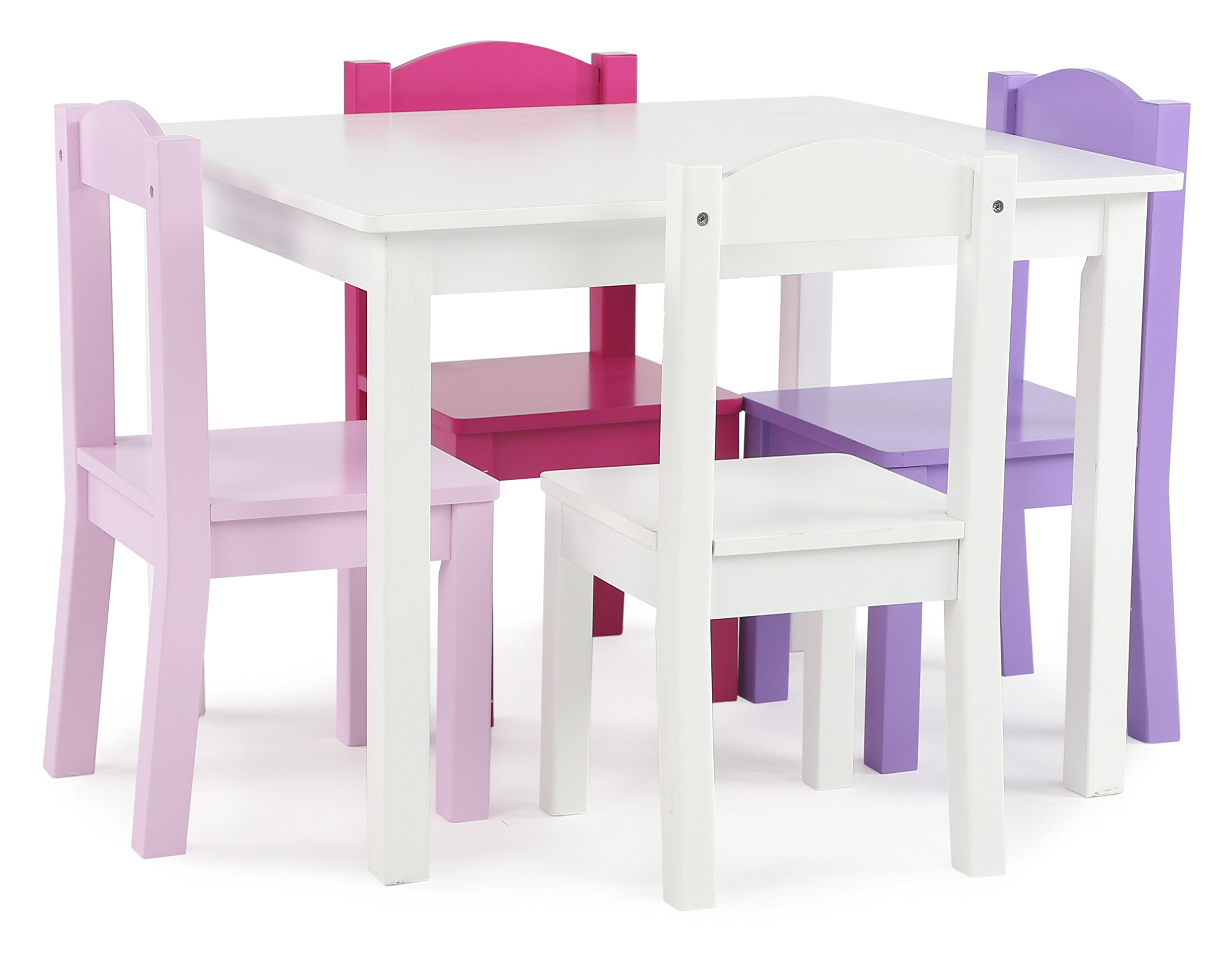 Tot Tutors TC727 Friends Collection Kids Wood Table & 4 Chair Set, White/Pink & Purple by Tot Tutors