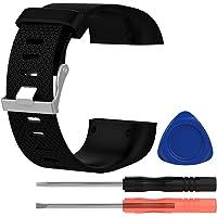 Gosear Correa Fitbit Surge, Moda Fresco reemplazo de Silicona Correa Banda Pulsera Pulsera con Destornillador Herramientas para Fitbit Surge Reloj Tamaño L Negro