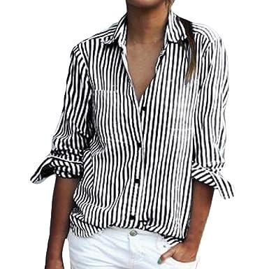 52e44eb3f4ef OverDose Damen Casual Gestreift Hemd Frauen Fashon Striped Langarm lose  Bluse T-Shirt Tops Oberteile