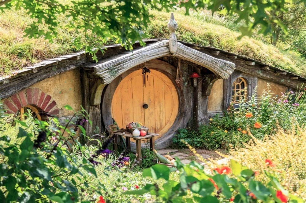 GoEoo 9x6ft Arch Underground House Photography Background Cloth Fairy Tale Beautiful Sunshine Wooden Round Door Hole Animals Home Frontyard Photo Backdrop Photo Studio Props