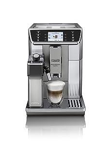 DeLonghi Super-Automatic Espresso Coffee Machine with Double Boiler, Milk frother Maker for Brewing Espresso, Cappuccino, Latte, Macchiato & Flat Whit, ECAM65055MS Primadonna Elite