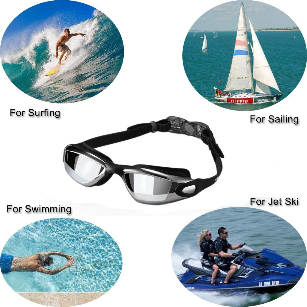 Swimming Goggles, Alfway Swim Goggles No Leaking Anti Fog UV Protection Triathlon Swim Goggles with Free Protection Case for Adult Men Women Youth Kids Child (Black)