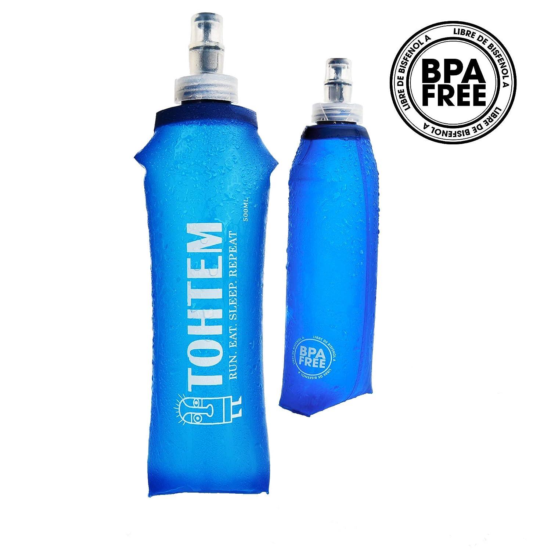 TOHTEM Botella de agua plegable reutilizable Plástico sin BPA Ideal hidratacion para deportes (1 PCS): Amazon.es: Deportes y aire libre