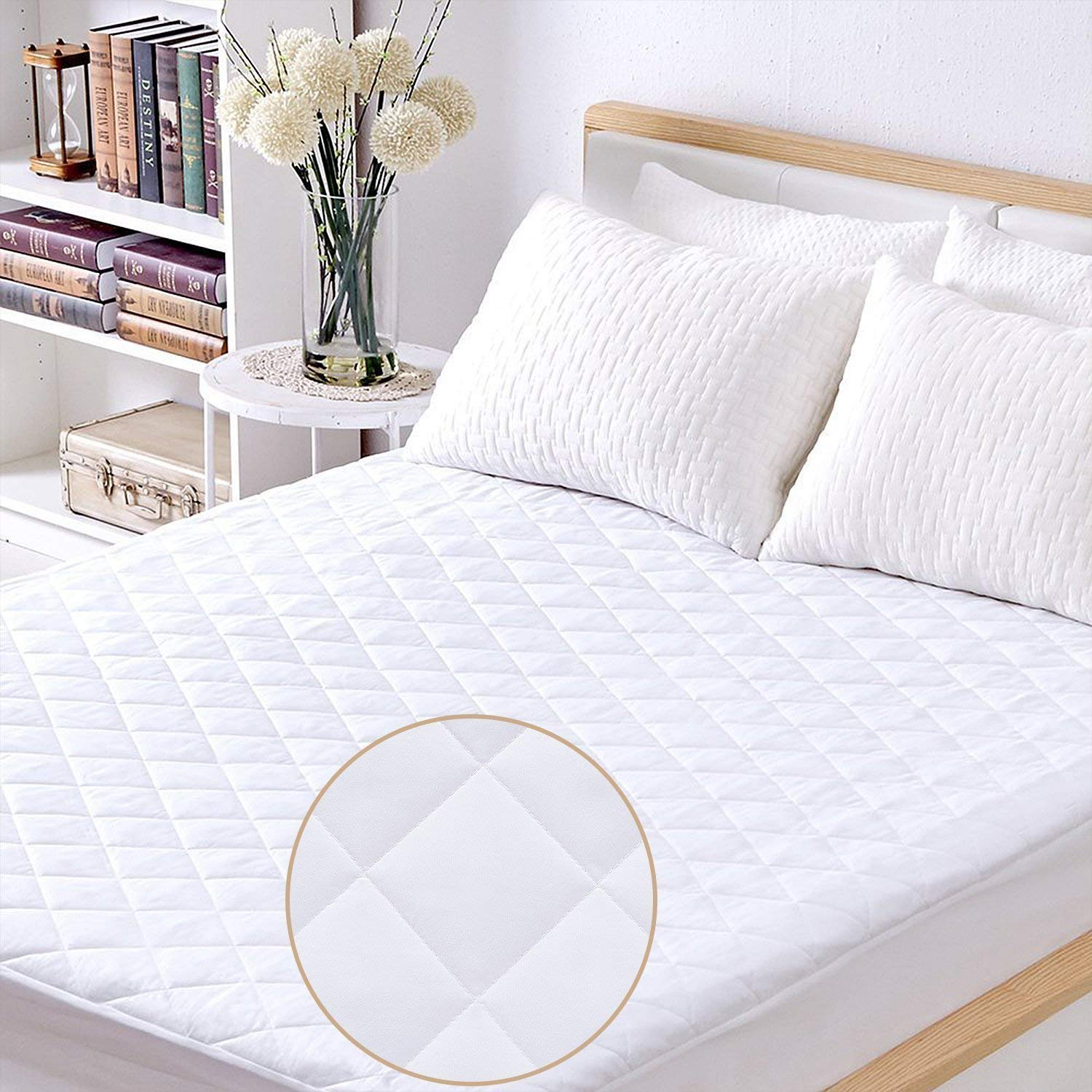Twin Size Mattress Pad 100% Waterproof Hypoallergenic Quilted Fitted Mattress Cover, Stretched to Fit Deep Pocket Mattress Protector- Vinyl Free Suntrip Textiles