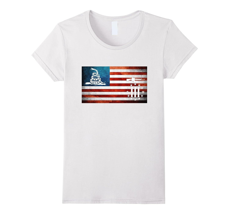 American Flag Gadsden Three Percenter Military Veteran Shirt