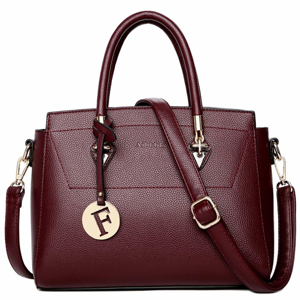 本革レディーストップハンドルサッチェルハンドバッグトートショルダーバッグ財布クロスボディバッグファッション バッグ (色 : 赤)  赤 B07LG8MMJ5