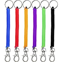Mini Skater 6Pcs Spiral Retractable Spring Coil Keychain Theftproof Anti-Lost Stretch Cord Safety Key Ring with Metal…