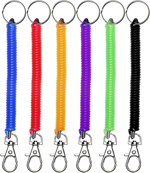 2 Plastic Black Retractable Spring Coil Spiral Stretch Chain Keychain Key  kdng