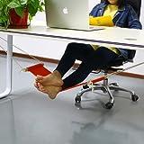 Home office footrest work soho computer desk footrests work table mini portable comfortable relaxing leg hammock adjustable orange foot hammock feet rest by TradePro