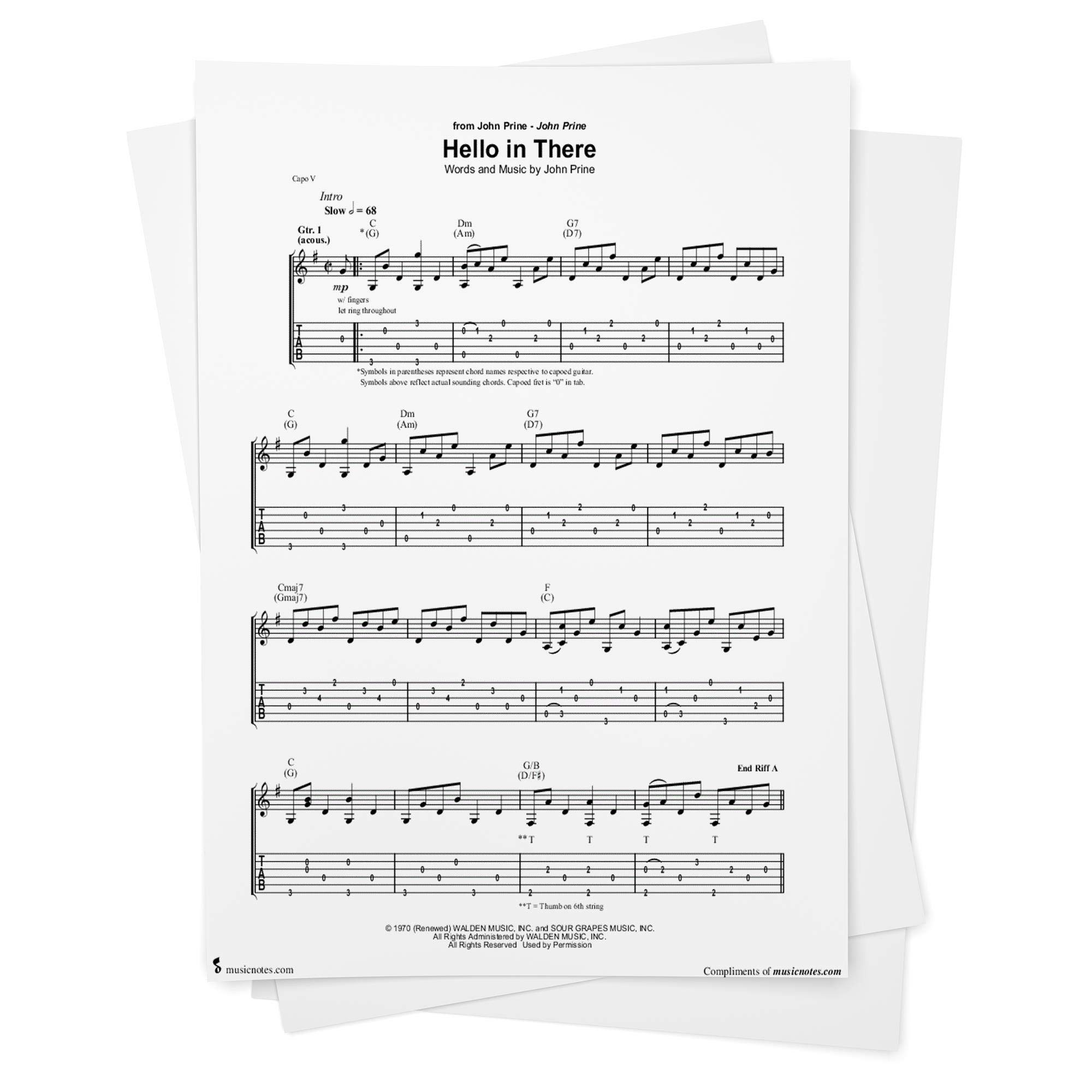 Hello in There Sheet Music by John Prine   Guitar TAB from ...