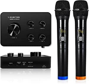 Sound Town Wireless Microphone Karaoke Mixer System, Supports HDMI ARC, Optical (Toslink), Smart TV, Media Box, PC, Bluetooth, Soundbar, Receiver, AUX (SWM15-PROS)