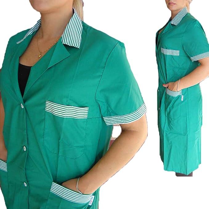 Bata de mujer de escuela y trabajo para maestras, limpiadoras, operarios de fábrica y botones, verde, S: Amazon.es: Deportes y aire libre