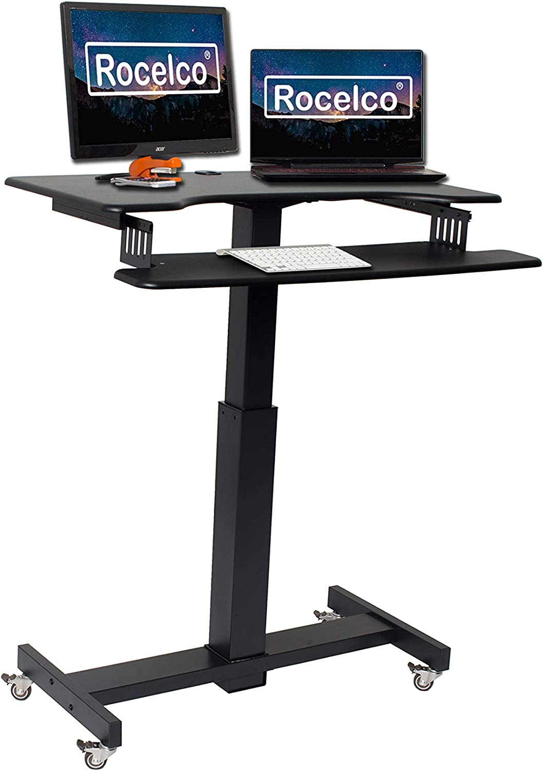 Amazon Com Rocelco 40 Height Adjustable Mobile Standing Desk Sit Stand Home Office School Computer Workstation Riser Dual Monitor Keyboard Tray Gas Spring Assist Black R Msd 40 Office Products