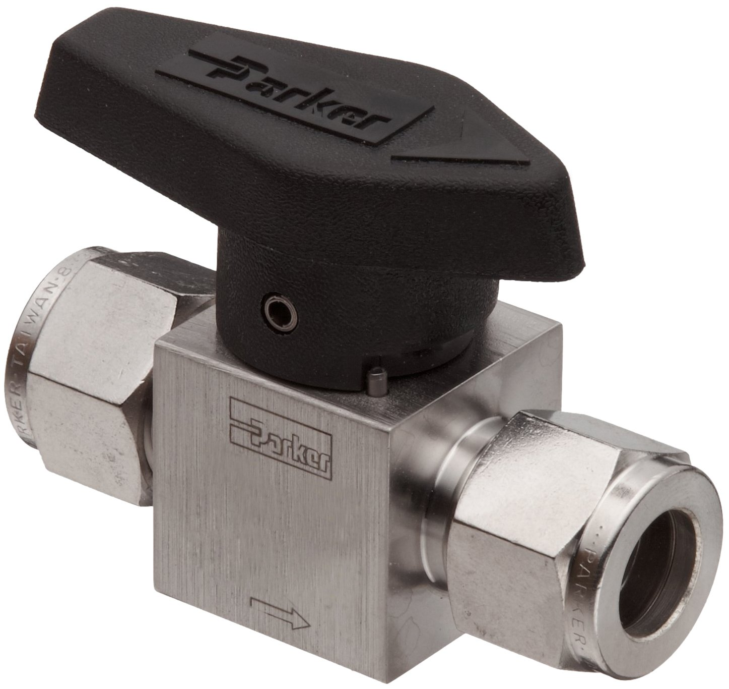 Parker 316 Stainless Steel Rotary Process Plug Valve with Fluorocarbon Rubber Seal and PTFE Back-Up Ring, 1/4'' A-LOK Compression Inlet/Outlet Port, 3000 psi by Parker (Image #1)
