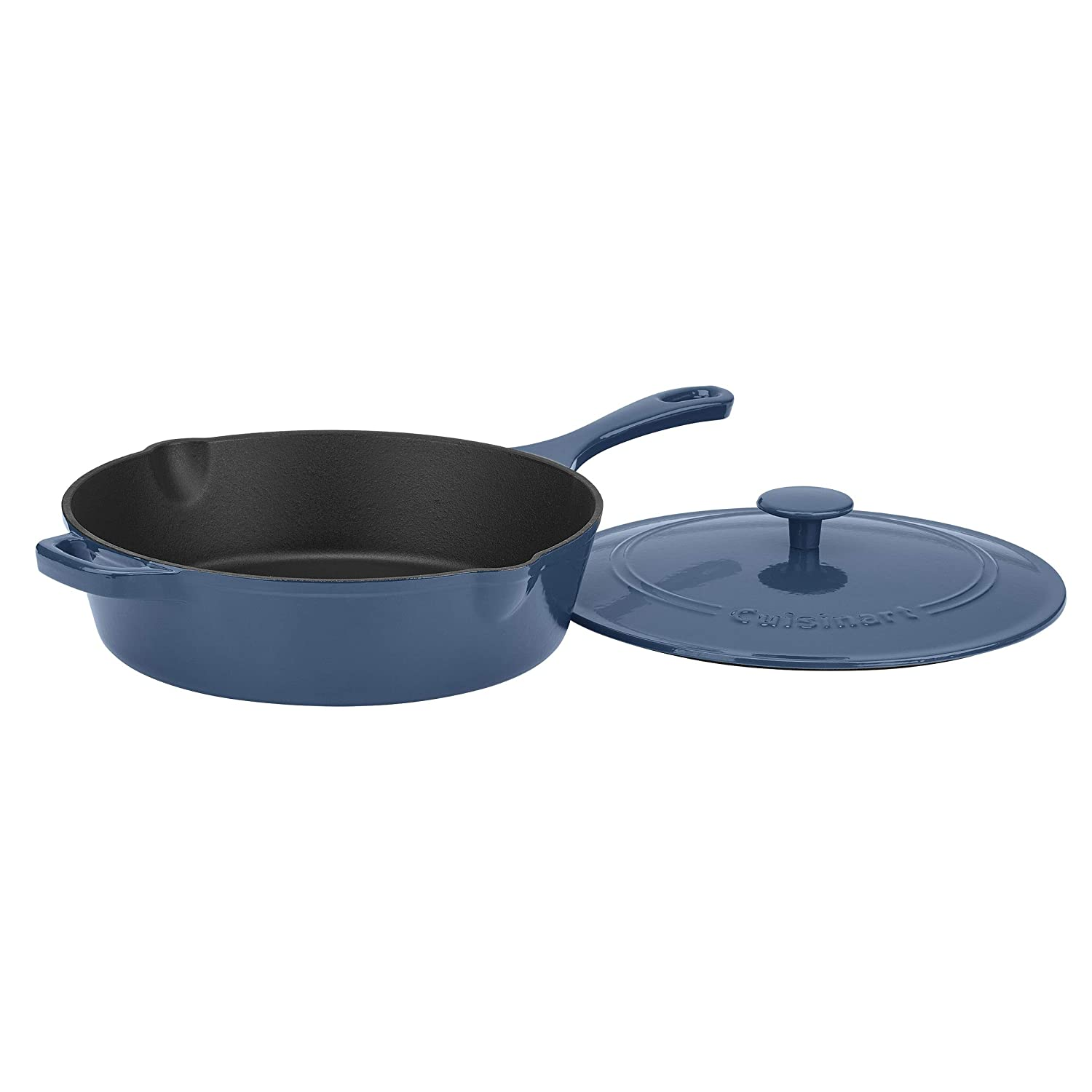 "Cuisinart CI45-30BG Cast Iron Pan, 12"" Chicken Fryer, Enameled Provencial Blue"