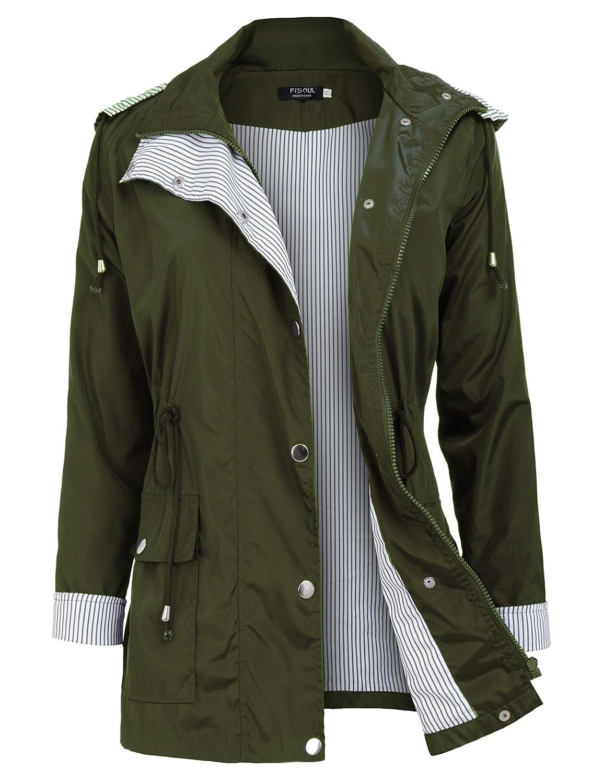 Unbranded Women's Waterproof Raincoats Active Outdoor Hooded Trench Coats Lightweight Rain Jacket