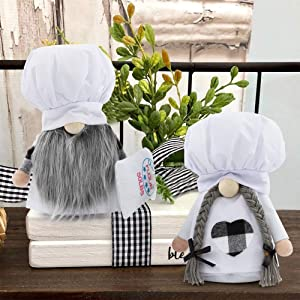 Kitchen Chef Gnomes 2 Pcs Mini White Kitchen Home Farmhouse Decorations, Scandinavian Plaid Cooking Tomte Gnome Doll Shelf Decorations for Home Wedding Easter Mother's Day