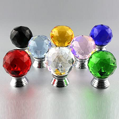 H&S® 4 x 30mm Crystal Glass Door Knobs Drawer Cabinet Furniture ...