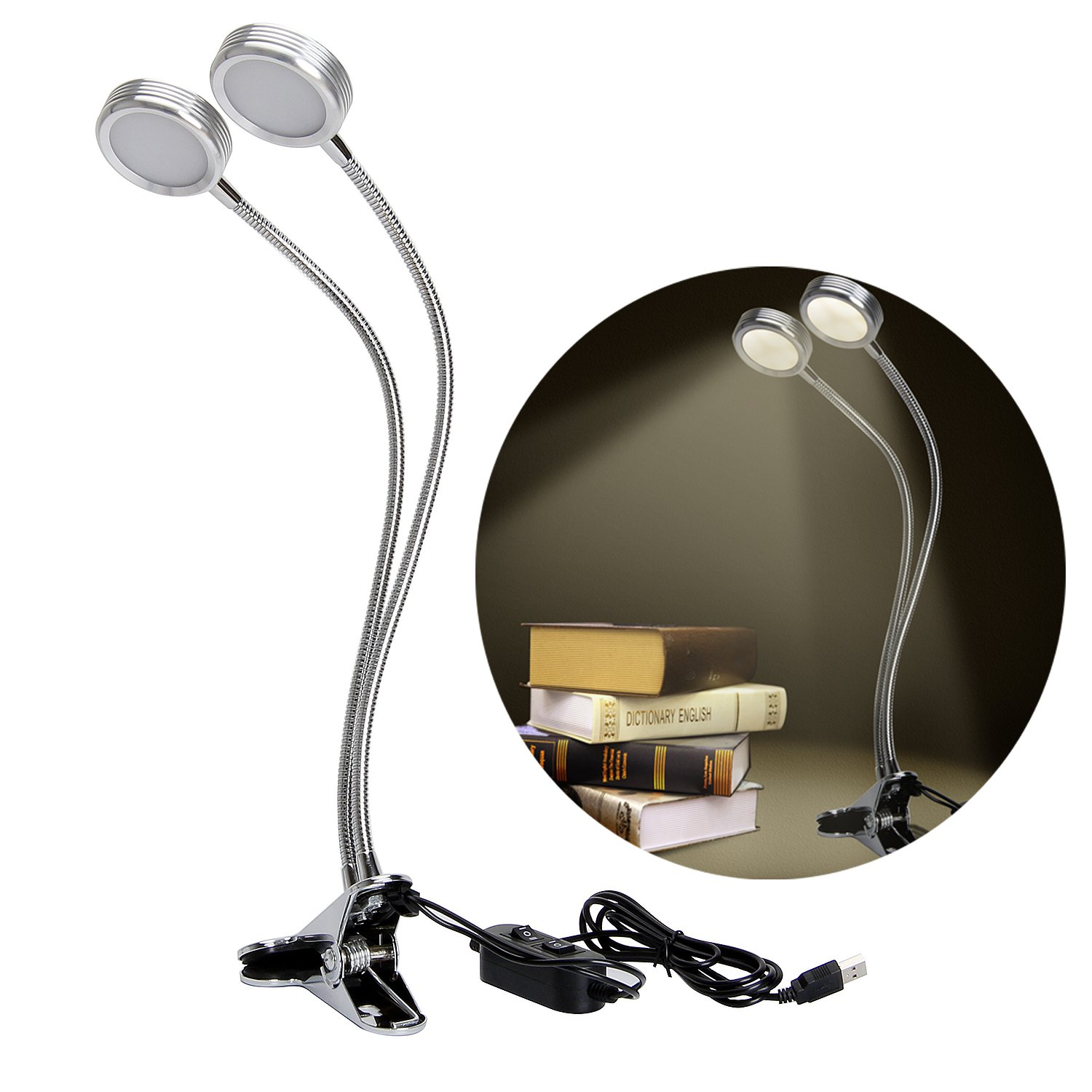Dual Head USB Led Clip on Light, 2 Dimming Levels Eye-caring light Lamp with on/off Switch and Flexible Aluminum Gooseneck for Bed reading Studying working(Art Works Show Accent Light)-Warm White YUHAN YH#D0035