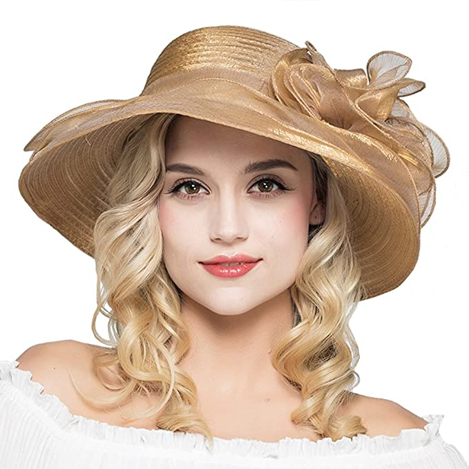 05b49c0ae421a HH HOFNEN Kentucky Derby Sun Hats for Women Wide Brim Beach UPF Protection  Cap (2-Khaki) at Amazon Women s Clothing store