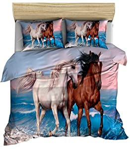 Animals Printed Bedding Set Horse Pattern Duvet Cover Twin Size Horse Quilt Cover Wild Animal Theme Comforter Cover Soft Microfiber Bedspread Cover Farmhouse Decor Bed Cover for Adult Teens Kids Boys