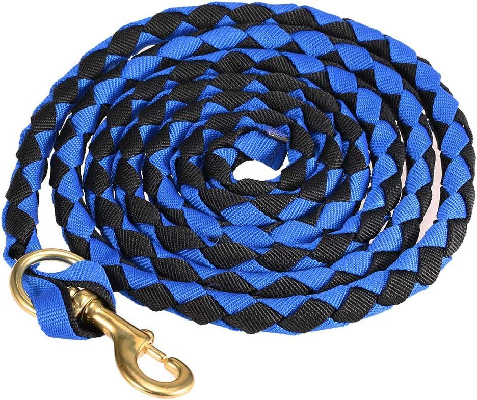 Blusea Caballo Trenzado Cuerda riendas Cuerda Jinete del Caballo Cuerda Principal Braid Caballo Cabestro con Broche de Bronce 2.0M / 2.5M / 3.0M