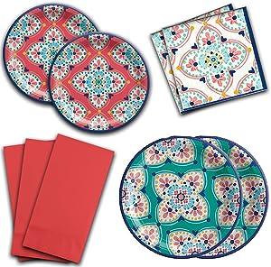 Boho Vibes Summer Floral Fiesta Party Paper Dessert Plates Beverage Napkins & Dinner Napkins for 16