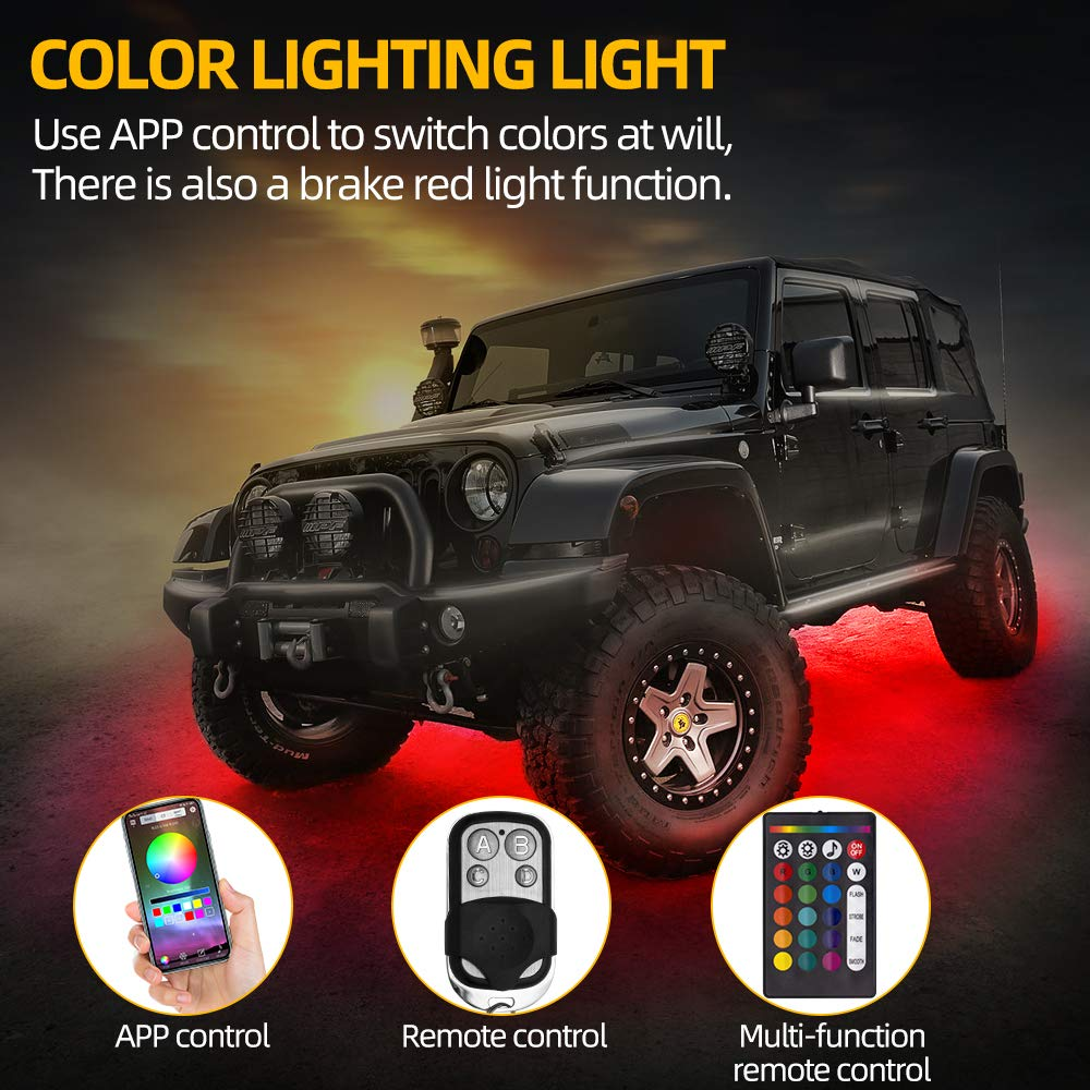 Music Mode JoaSinc RGB LED Rock Lights with Bluetooth APP Contorl 8 Pods Multicolor Neon LED Light Kit 12V 20W Timing Function Voice Control IP67 Waterproof for J-eep Offroad Truck ATV SUV