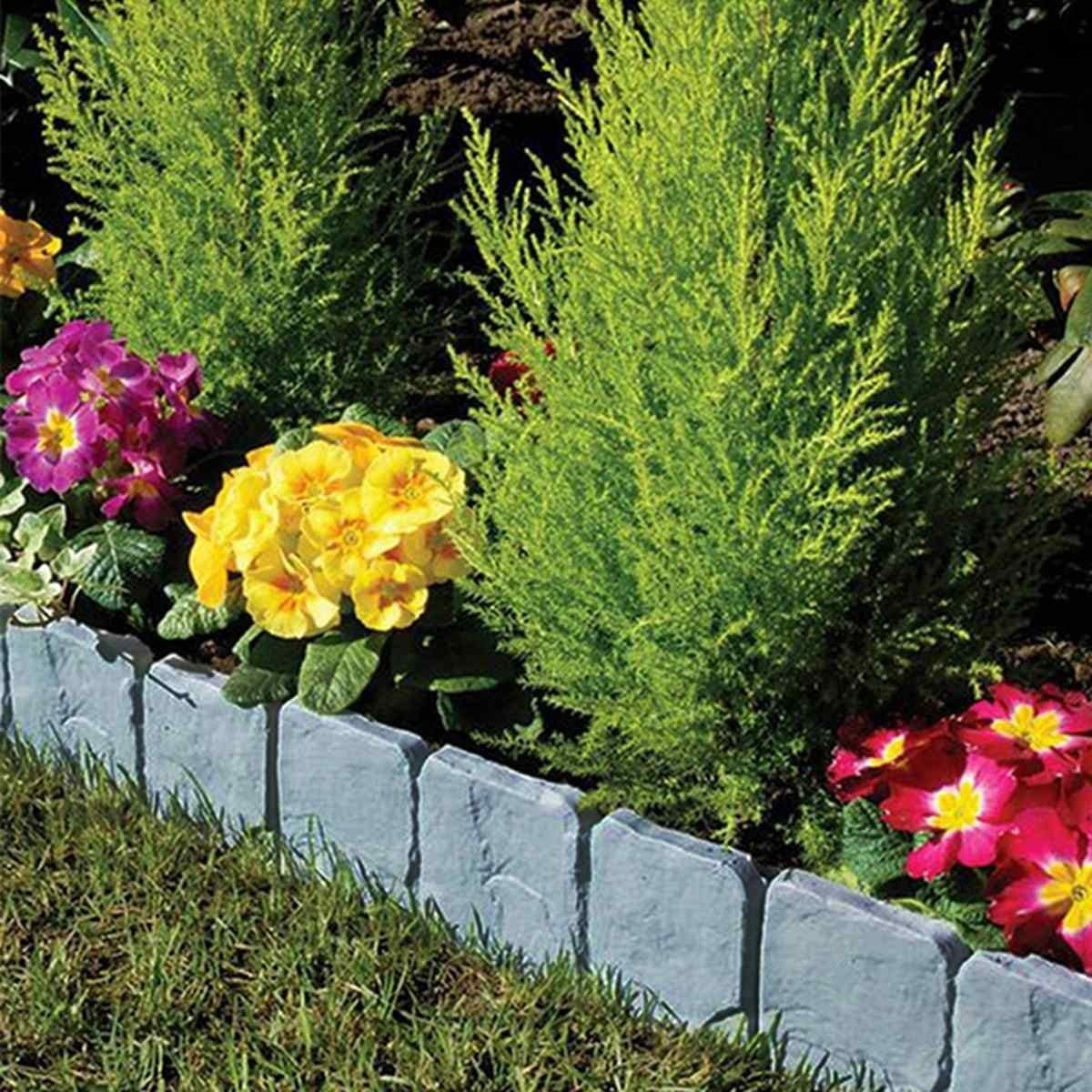 ABD 10pcs/lot Folding Landscape Gray Flower Fence-Path Garden Edging Plastic Fence Stone Effect Lawn Yard Flower Plant Border (Color : Light Grey) Light Grey