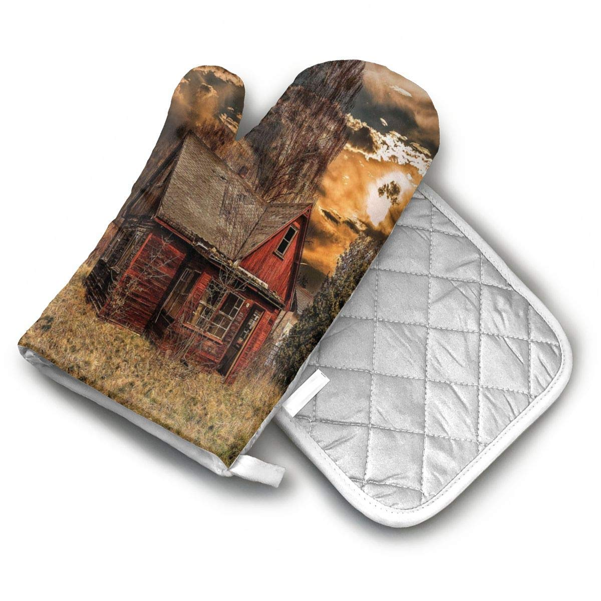 AISDHAJKSD Scary Horror Movie Themed Abandoned House in Premium Terylene/Nylon Oven Mitts and Pot Mat,Pot Mat/Hot Pads, Heat Resistant Gloves BBQ Kitchen