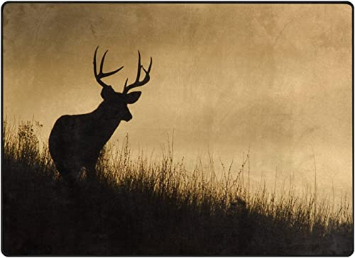 ALAZA Deer Silhouette Forest Landscape Nature Area Rug Rugs