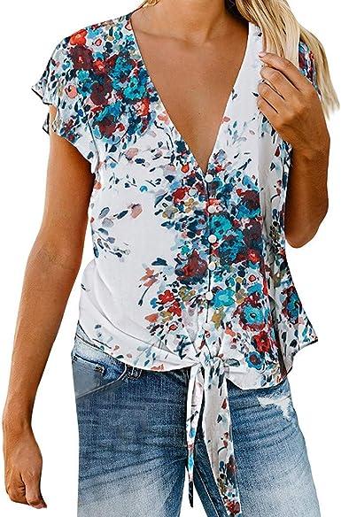Camisetas para Mujer Manga Cortas Verano Escote V 2019 Tallas Grandes PAOLIAN Camisetas Casual Vestir Estampados Flores Blusas Fiesta Mujer Elegante Correa del Lazo: Amazon.es: Ropa y accesorios