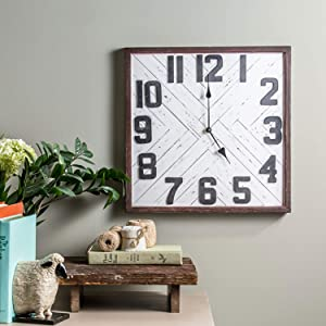 """Foreside Home & Garden White Distressed 15.5 x 15.5 inch Wood Battery Operated Hanging Wall Clock, 15 3/8"""" x 15 3/8"""" x 1 1/4"""""""