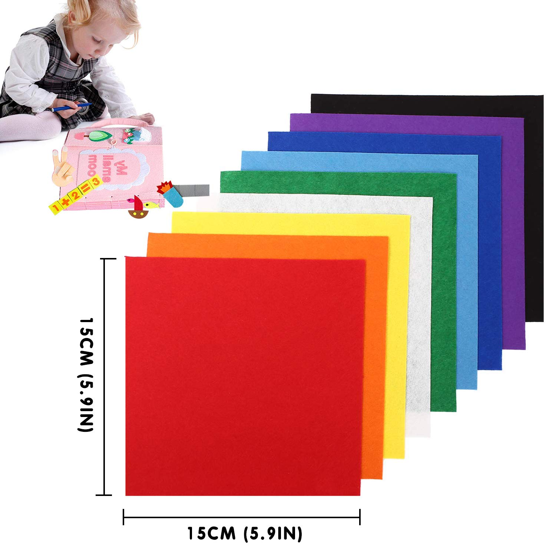 VDSOW Fieltro para Manualidades, 40pcs Hojas de Fieltro Telas Colores (Blanco/Verde/Amarillo/Rojo y más), Tela de Fieltro Grueso Patchwork Materiales ...