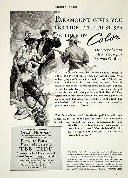 1937 Ad Movie Ebb Tide Frances Farmer Ray Milland Oskar
