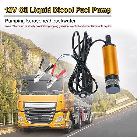 Boot /Öl Diesel Wasser Tauchpumpe Transfer f/ür Auto KFZ flintronic DC 12V 51mm Dieselpumpe Wasserpumpe mit 5M PVC Schlauch Transparenter Golden